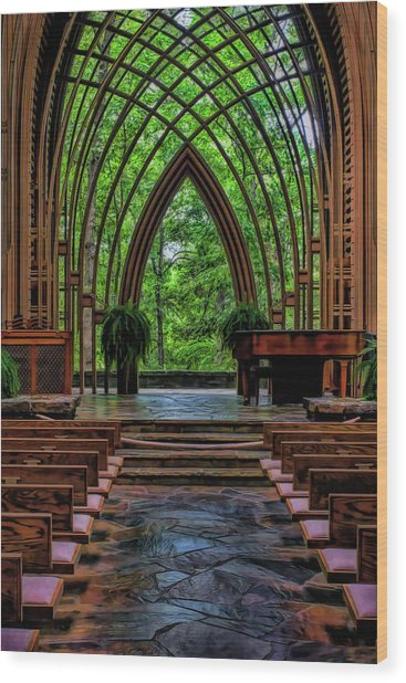 Inside The Chapel Wood Print