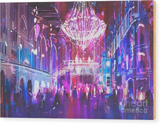 Interior Night Club With Bright Wood Print