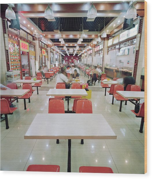 Interior Of Fast Food Restaurant In Wood Print by Martin Puddy