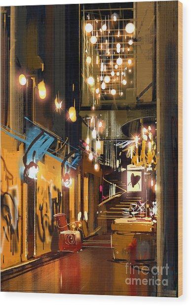 Interior Of Hallway With Decorative Wood Print