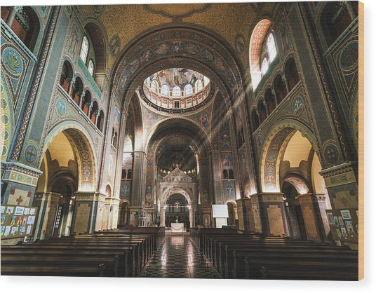 Interior Of The Votive Cathedral, Szeged, Hungary Wood Print