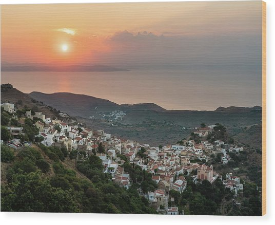 Ioulis Town Sunset, Kea Wood Print