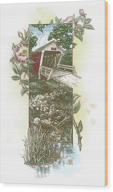 Wood Print featuring the drawing Iowa Covered Bridge by Clint Hansen