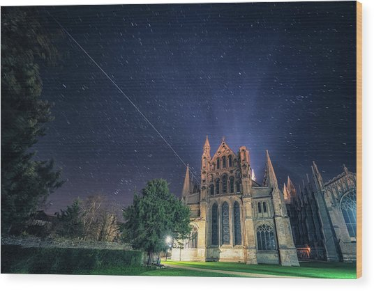 Iss Over Ely Cathedral Wood Print