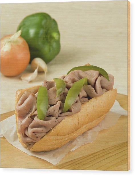 Italian Beef Sandwich With Green Pepper Wood Print