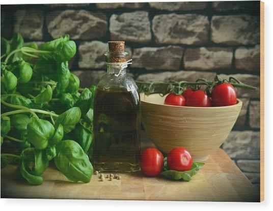 Italian Ingredients Wood Print