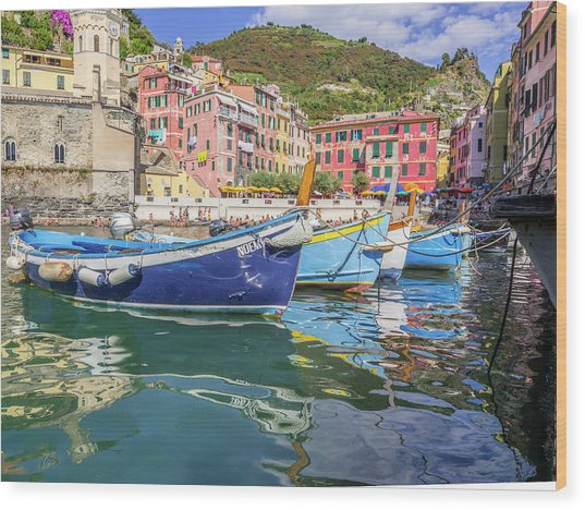 Italian Riviera Old Fashion Fishing Wood Print by Guy Midkiff