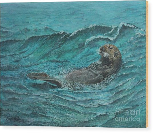 It's My Otter Day Off.....sea Otter Wood Print