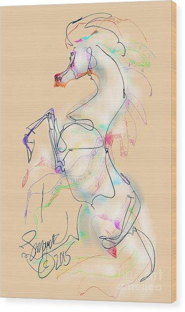 Ivory Horse Rising Wood Print