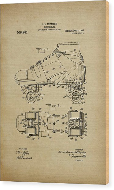 J. L. Plimpton, Roller Skate, Patented Dec.8,1908. Wood Print