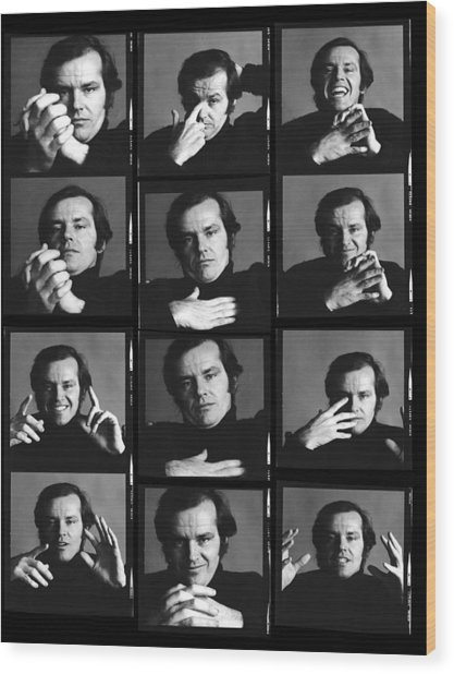 Jack Nicholson Contact Sheet Wood Print