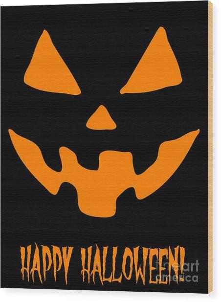 Jackolantern Happy Halloween Pumpkin Wood Print
