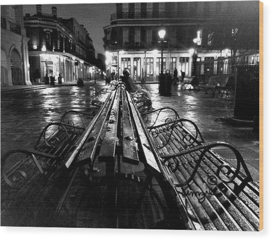 Jackson Square In The Rain Wood Print