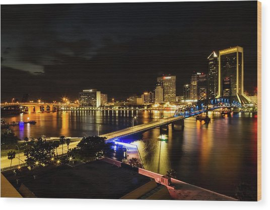 Jacksonville Skyline By Night Wood Print