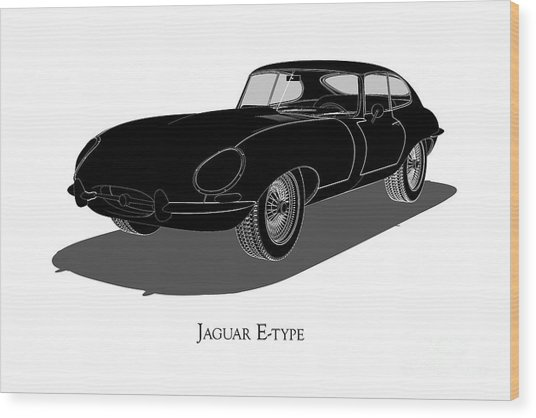 Jaguar E-type - Front View Wood Print