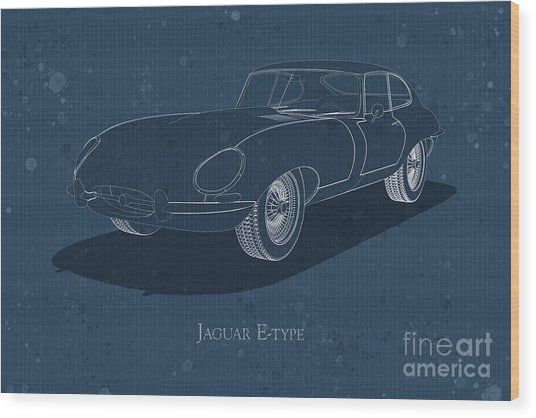 Jaguar E-type - Front View - Stained Blueprint Wood Print