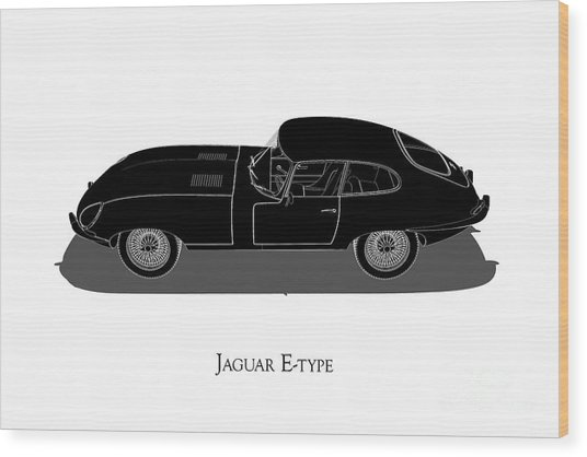 Jaguar E-type - Side View Wood Print
