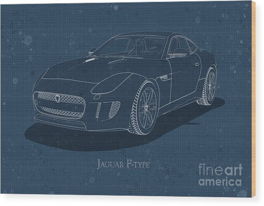 Jaguar F-type - Front View - Stained Blueprint Wood Print