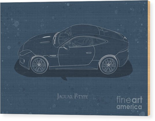 Jaguar F-type - Side View - Stained Blueprint Wood Print