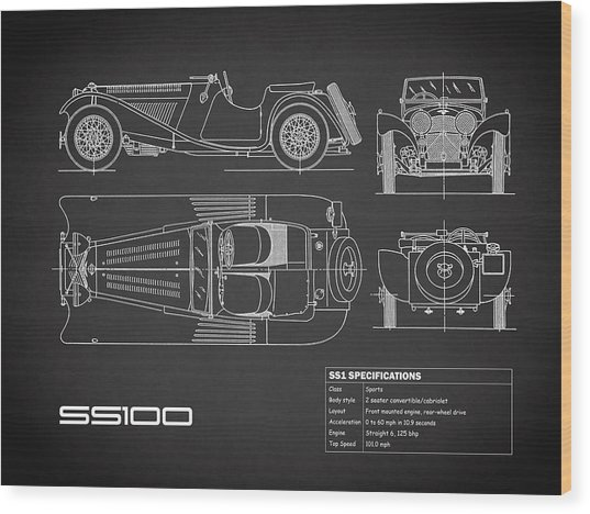 Jaguar Ss 100 Blueprint - Black Wood Print