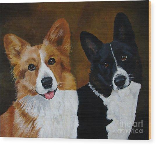 James And Joy Custom Portrait Painting Wood Print