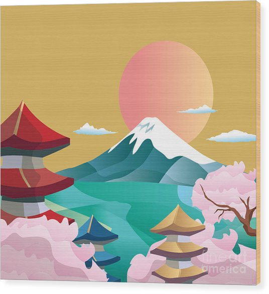 Japan Style Buildings And Fuji Mountain Wood Print