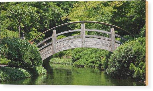 Japanese Garden Arch Bridge In Springtime Wood Print