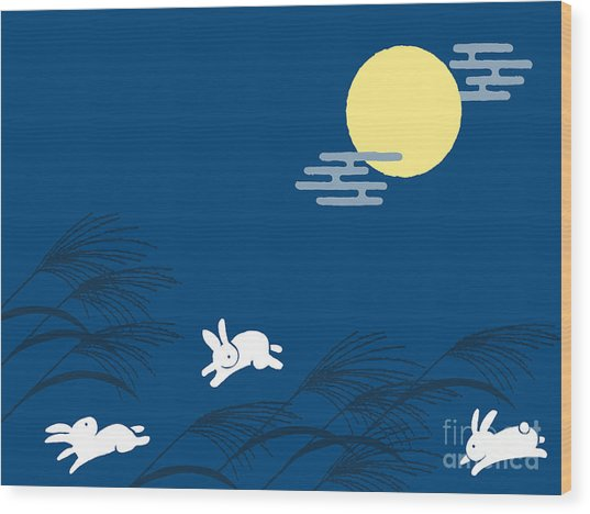 Japanese Traditional Full Moon Night Wood Print