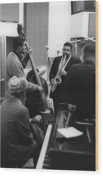 Jazz Greats Recording Wood Print