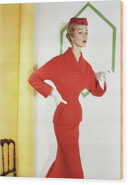 Jean Patchett Wearing Christian Dior Wood Print