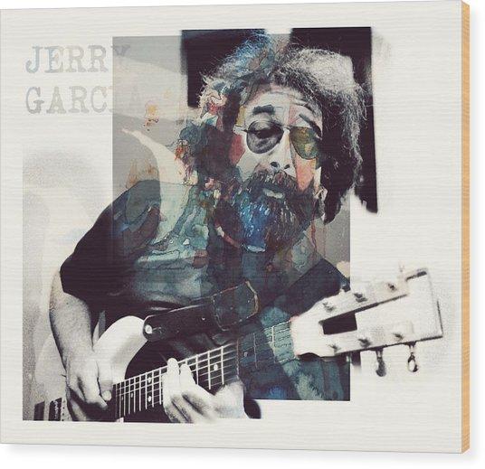 Jerry Garcia - Retro  Wood Print