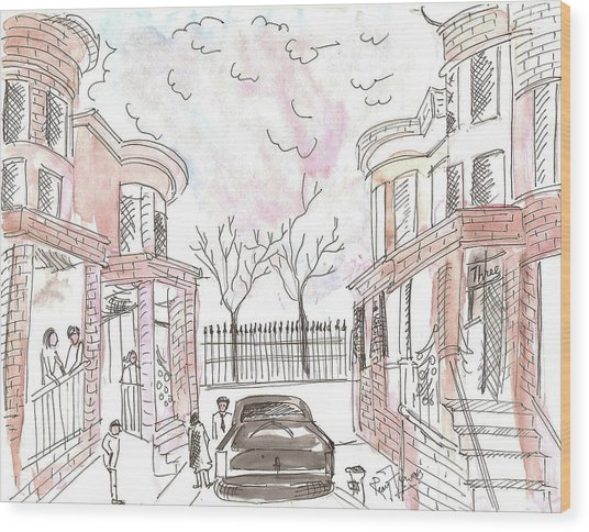 Jersey City Neighbourhood Wood Print by Remy Francis