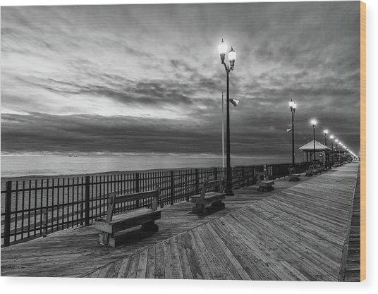 Jersey Shore In Winter Wood Print