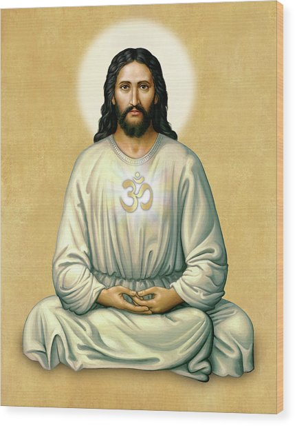 Jesus Meditating - The Christ Of India - On Gold With Om Wood Print