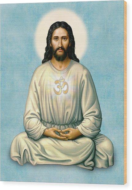 Jesus Meditating With Om On Blue Wood Print