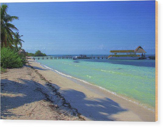 Jetty On Isla Contoy Wood Print