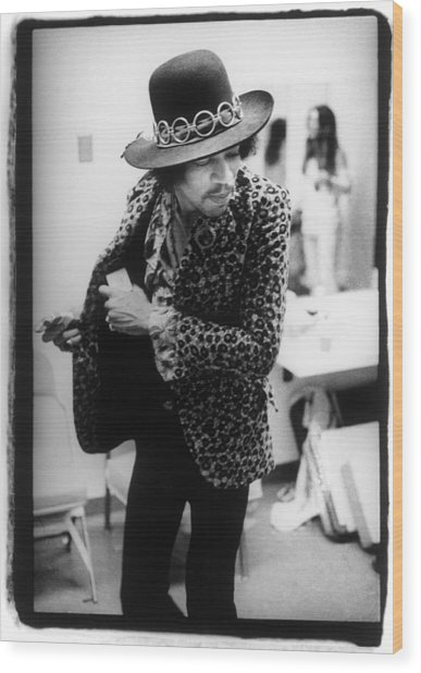 Jimi Hendrix Plays Anaheim Wood Print by Ed Caraeff/morgan Media