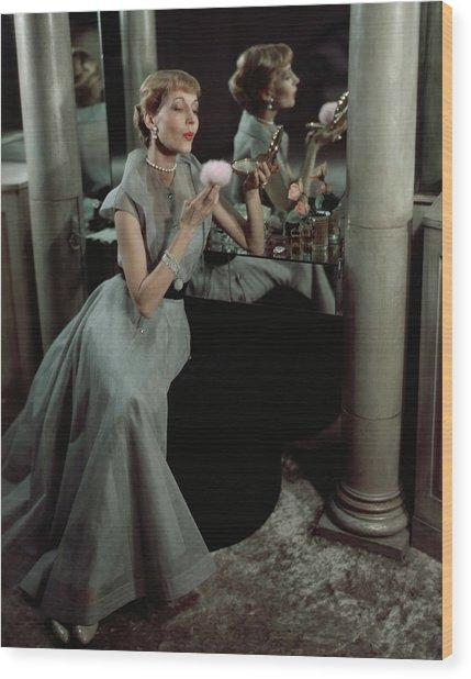 Jo Copeland In A Gray Dress Wood Print by Horst P. Horst