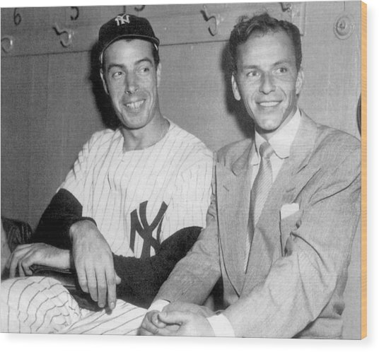 Joe Dimaggio And Frank Sinatra At Wood Print by New York Daily News Archive