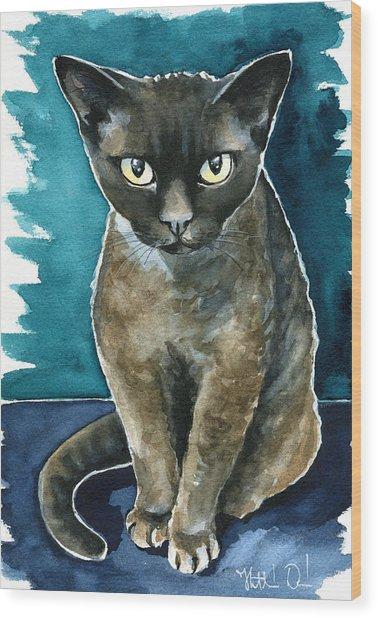Joey - Devon Rex Cat Painting Wood Print