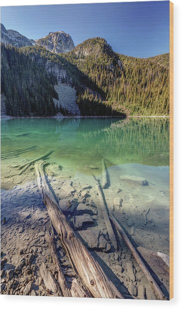 Wood Print featuring the photograph Joffre Lake Middle On A Calm Sunny Morning by Pierre Leclerc Photography