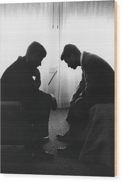 John Kennedy Confers With Robert Kennedy Wood Print