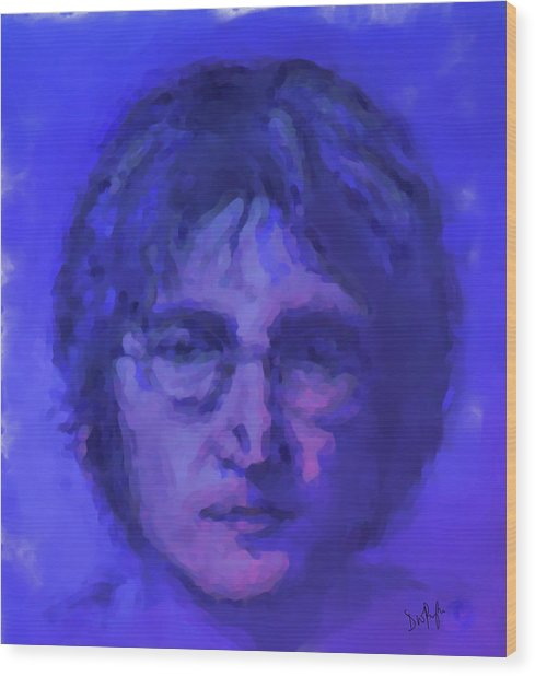 John Lennon Study In Blue Wood Print