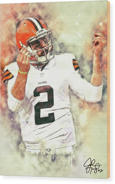 Johnny Manziel Wood Print