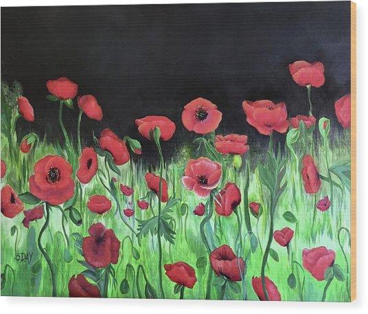 Jon's Poppies Wood Print