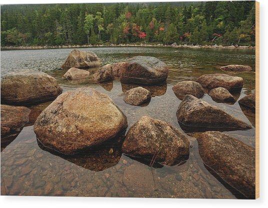 Jordon Pond Boulders Wood Print
