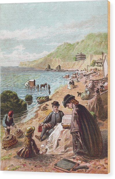 July - Victorians At The Seaside Wood Print by Whitemay