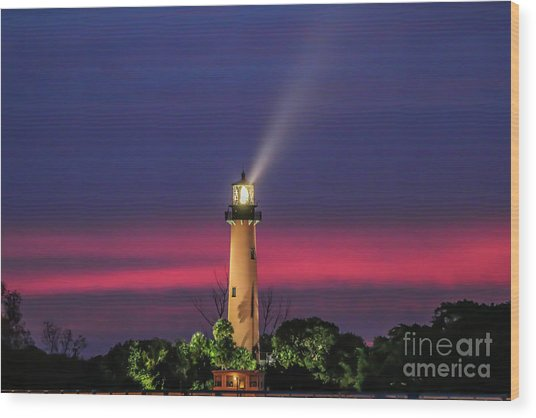 Jupiter Light Beam Wood Print