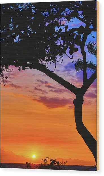 Just Another Kona Sunset Wood Print