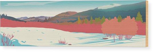 Kancamagus Overlook Wood Print by Marian Federspiel